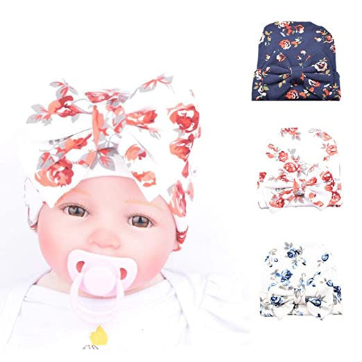 9720fe73426 Ademoo Baby Girls Newborn Beanie Hospital Hat (3 Pack Floral Bow   0-3