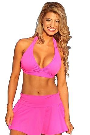 473f8f53bd Amazon.com: UjENA Flirty Skirted Halter Hot Pink Bikini Swimsuit - Top,  Bottom or Set: Clothing