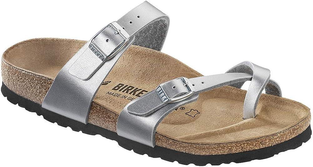 Birkenstock Mayari Sandal Girls' Silver Birko Flor, 32.0