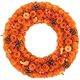 Idyllic 18'' Boxwood Round Wreath Yellow Orange Curled Roses Pumpkin Wreath for Front Door & Indoor, Home Décor for The Thanksgiving & Fall Season