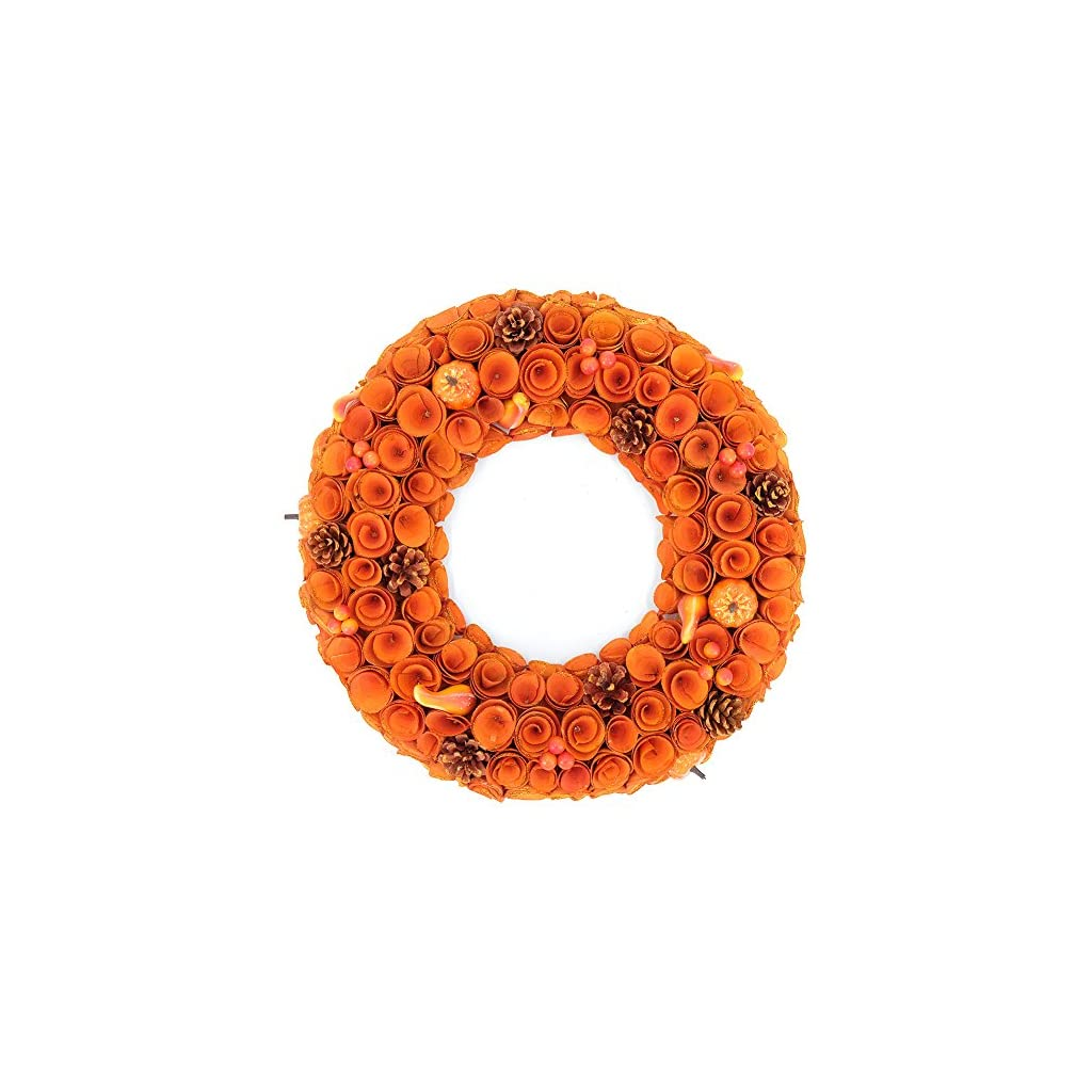 Idyllic-18-Boxwood-Round-Wreath-Yellow-Orange-Curled-Roses-Pumpkin-Wreath-for-Front-Door-Indoor-Home-Dcor-for-The-Thanksgiving-Fall-Season