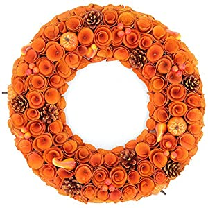 Idyllic 18'' Boxwood Round Wreath Yellow Orange Curled Roses Pumpkin Wreath for Front Door & Indoor, Home Décor for The Thanksgiving & Fall Season 1
