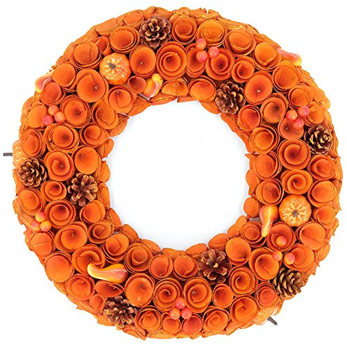 Round Wreath Yellow Orange Curled Roses Pumpkin Wreath for Front Door & Indoor, Home Décor for The Thanksgiving & Fall Season ()