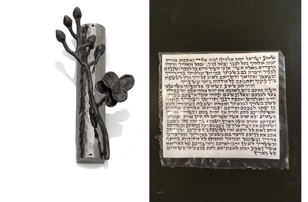 Michael Aram Black Orchid Mezuzah with Kosher Parchment Scroll by Michael Aram