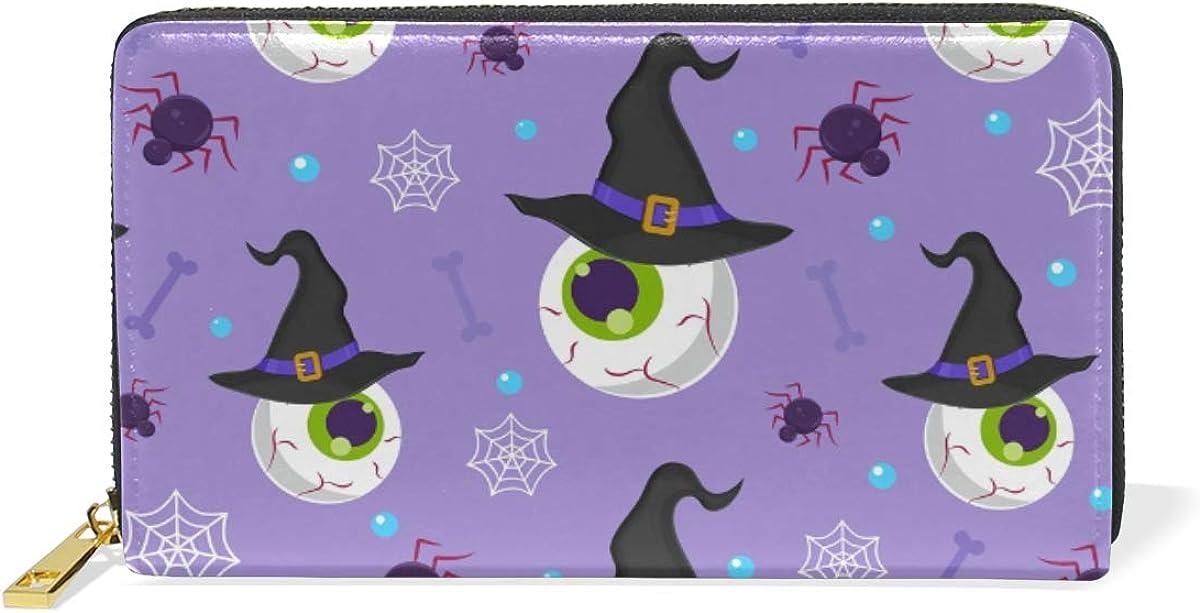 Cute Halloween Magic Eyeball Leather Womens Zipper Wallets Clutch Coin Case