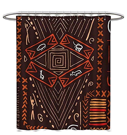 Primitive Shower Curtains Sets Bathroom Aboriginal Style Patterns Tribal Motifs Objects Collage Cave Pictures Print