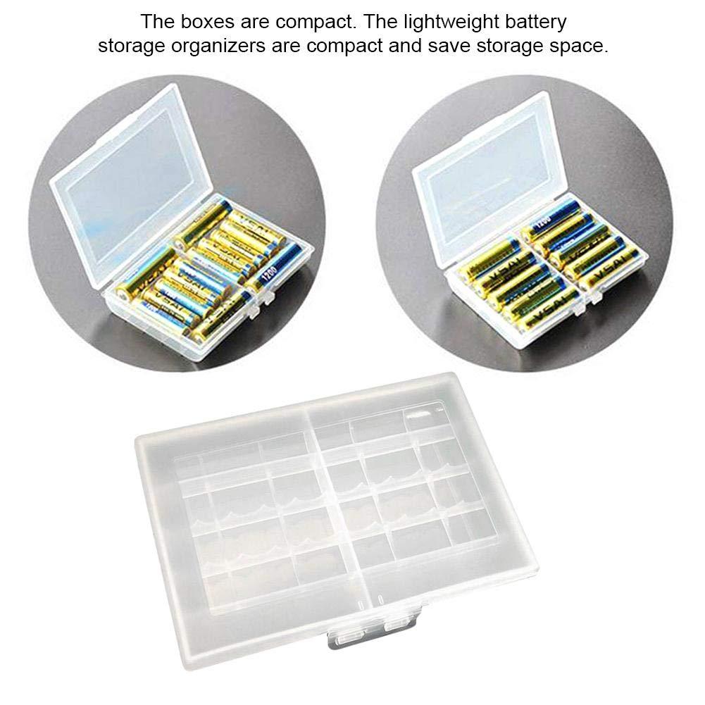 12X8,5X2 Cm Godya Custodia per Organizer per Batteria Trasparente Leggera Batteria AA//AAA Scatola da Trasporto