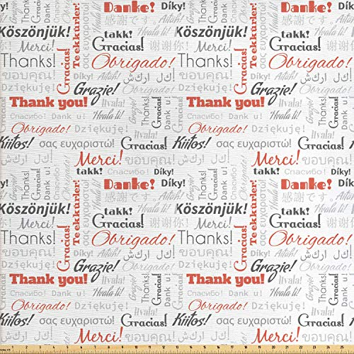nal Global Fabric by The Yard, Thank You Phrase in Different Languages of The World Multilingual, Decorative Fabric for Upholstery and Home Accents, 1 Yard, Salmon Grey ()
