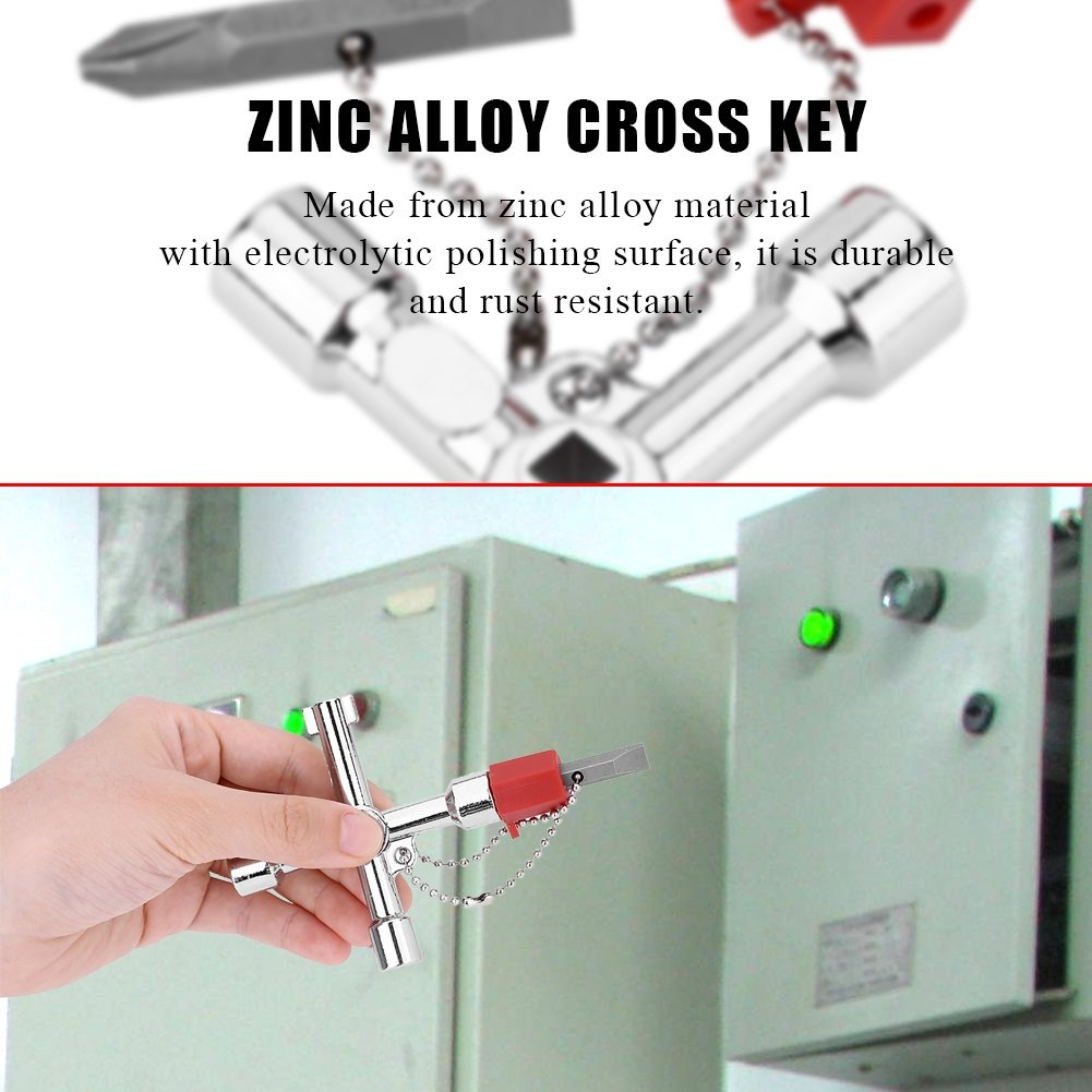 4 Way Cross Key Bit Zinc Alloy Multi-Functional Universal Opening Key Plumbers Electricians Tools for Water Meter Valve Electric Box Cupboard Cabinet