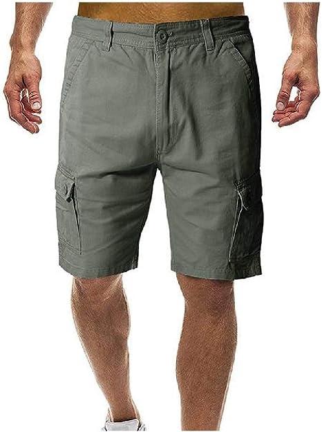 EnergyWD メンズプラスサイズ快適な大きなポケット夏のリラックスフィットショートパンツ