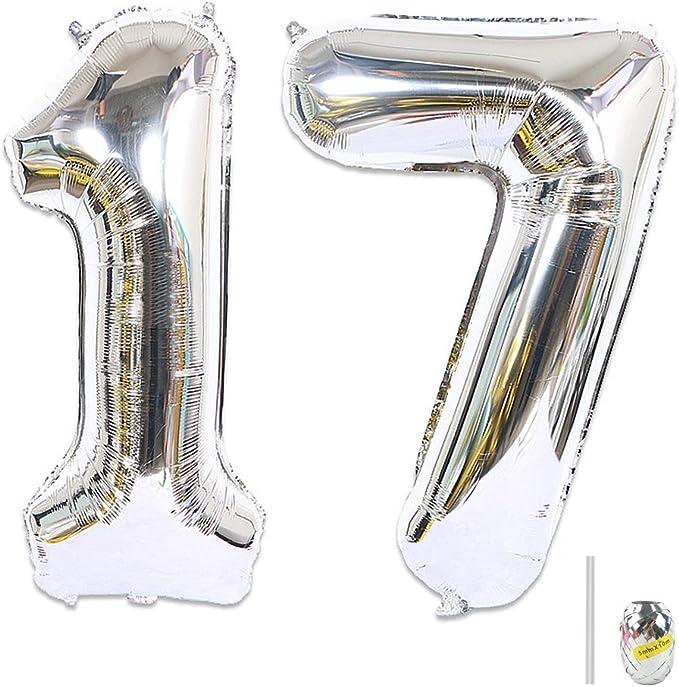 Huture 2 Globos Número 17 Figuras Globo Inflable de Helio Globos Grandes de Aluminio Mylar Globos Gigantes de Plata Número de Globos de 40 Pulgadas para Fiesta de Cumpleaños Decoración XXL 100cm