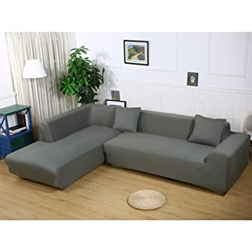 Attrayant Premium Quality Sofa Covers For L Shape, 2pcs Polyester Fabric Stretch  Slipcovers + 2pcs Pillow