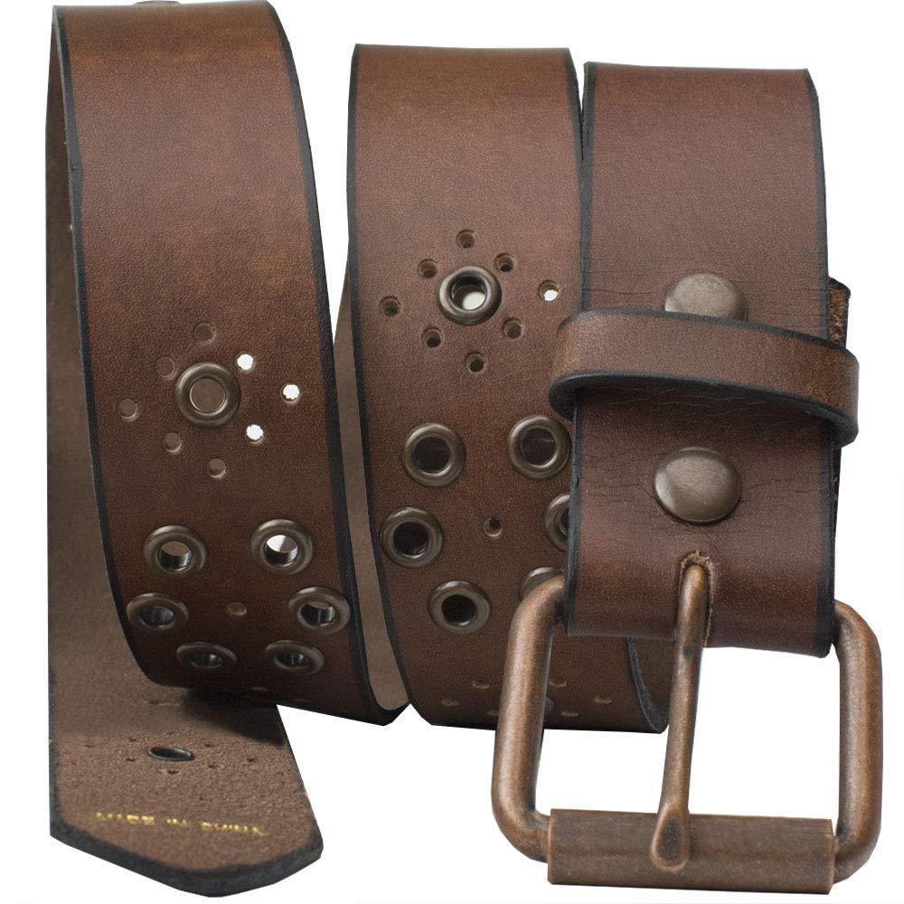 Nickel Free Genuine Leather Belt, Brown Grommet - 39''