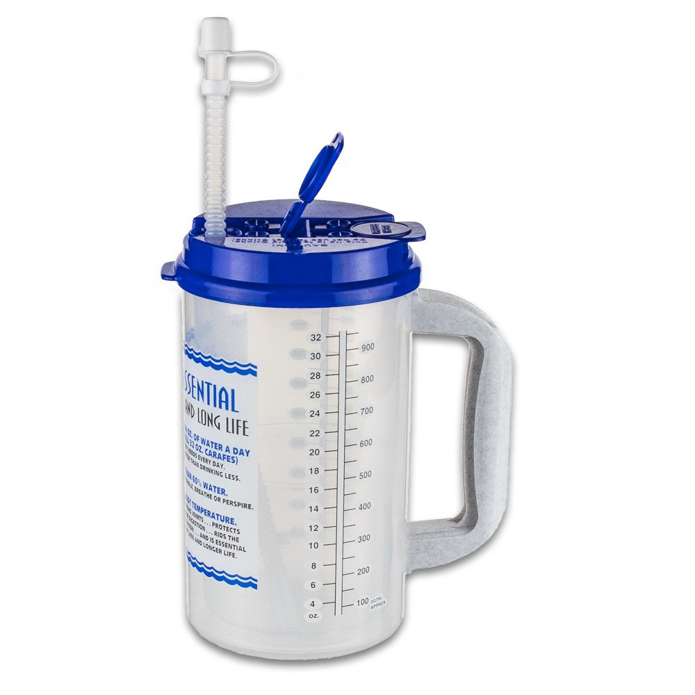 32 oz Insulated Cold Drink Hospital Mug with Blue Lid | Water Essential Travel Mug