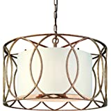 Troy Lighting Sausalito 5-Light Chandelier - Silver Gold Finish with Hardback Linen Shade