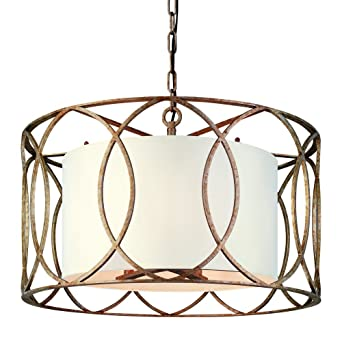 Troy Lighting Sausalito 5 Light Chandelier   Silver Gold Finish With  Hardback Linen Shade