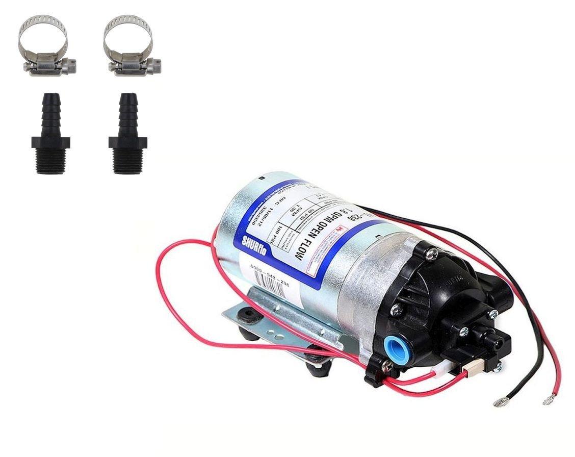Shurflo 8000-543-238 Automatic-Demand 12V Diaphragm Pump with Male 3/8'' Hose Barb Kit (Bundle, 2 Items)