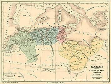 Carte Algerie Libye.Maghreb Barbarie Coast Maroc Algerie Tunisie Libye