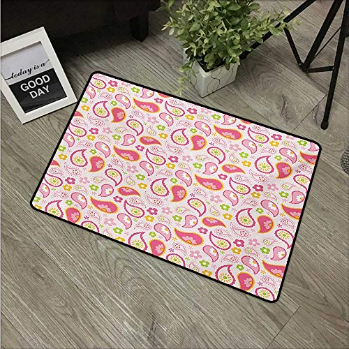 Girls,Durable Rubber Door Mat Paisley Leaf and Daisy Flowers Pattern Floral Spring Theme Girls Kids Room Nursery W 20