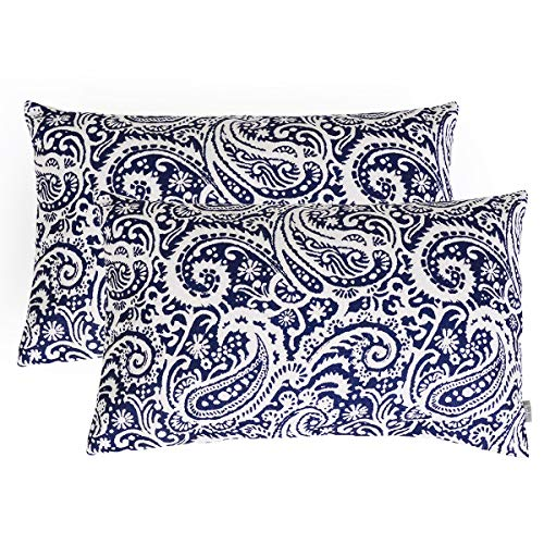 baibu Paisley Cushion Cover, Pack of 2 Decorative Throw Pillow Cushions Covers Sham Cushion Case (Navy Blue, 12″x20″Inches)