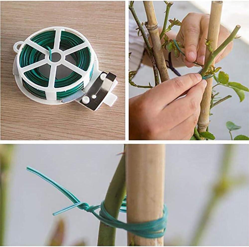 en cesta de alambre de flores alambre de atar 1 verde 100 m cierres multifunci/ón para sistemas de protecci/ón de plantas en el jard/ín Bridas de cables con c/úter alambre enrollable
