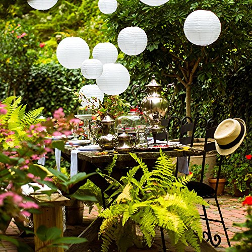 20 White Round Paper Lanterns for Weddings, Birthdays, Parties and Events - Assorted Sizes of 6'', 8'', 10'', 12'' (5 of Each Size) - by Avoseta by Avoseta (Image #6)'