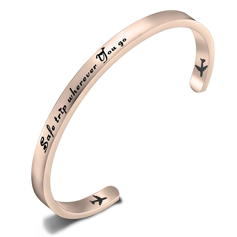 SEIRAA Safe Traveler Bracelet Airplane Cuff Bracelet Traveling Bracelet Pilot Gift Aviation Jewelry Flight Attendant Gift (rosegold)