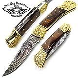 Rose Wood with Double Bloster Scrimshaw Work 7.6'' Handmade Damascus Steel Folding Pocket Knife