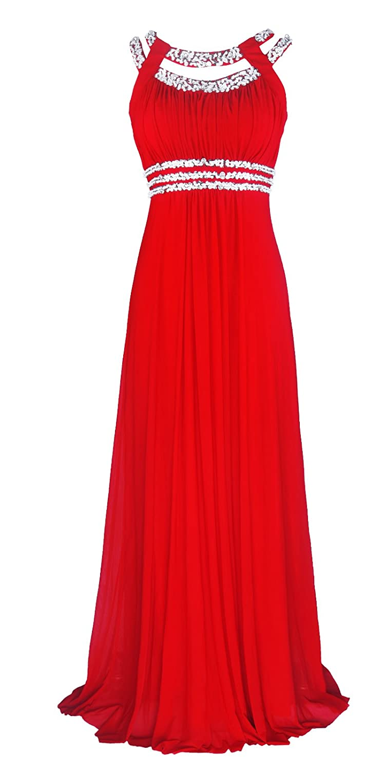 Licoco Women Sleeveless Beaded Semi-Formal Long Maxi Evening Gown Wedding Dress