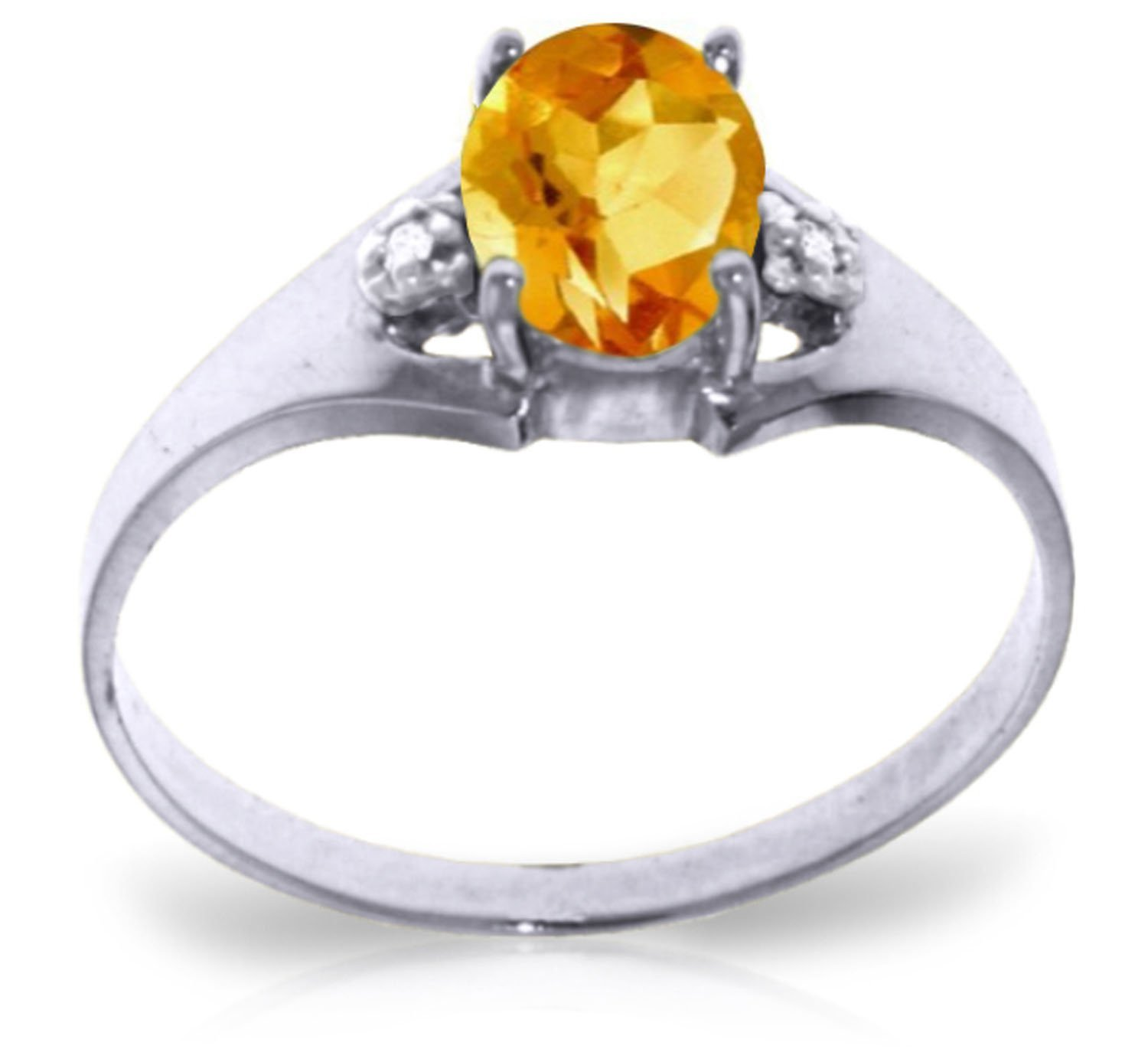 0.76 Carat 14k Solid White Gold Ring with Genuine Diamonds and Natural Oval-shaped Citrine - Size 11