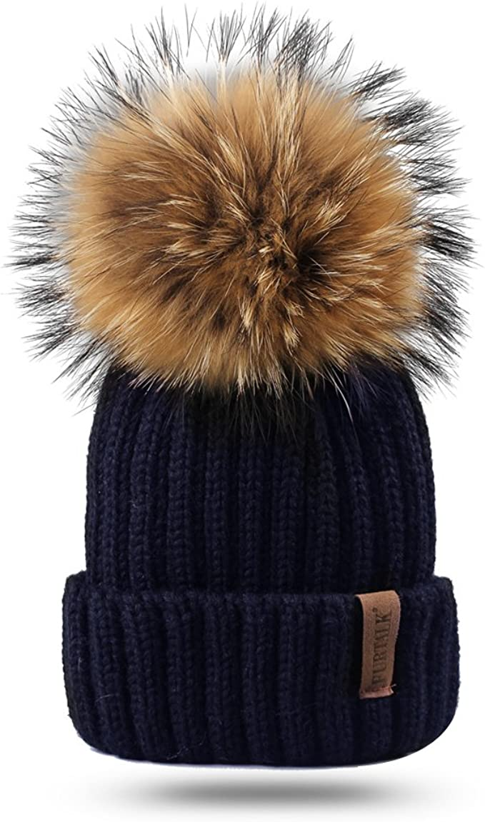 Navy Knitted Beanie Pom Pom Hat