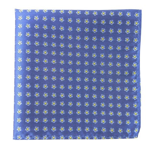 The Tie Bar 100% Woven Silk Blue Anemones Patterned Pocket Square