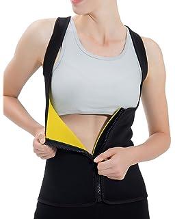0c60ec2c39ff68 Roseate Women s Body Shaper Tummy Fat Burner Sweat Tank Top Weight Loss  Neoprene Shapewear with Zip