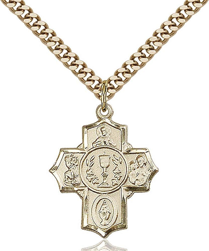 Gold Plate Heavy Curb Chain Patron Saint 7//8 x 3//4 14kt Gold Filled Millennium Crucifix Pendant