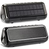 Friengood Solar Bluetooth Speaker, 30+Hours Playtime Portable IPX6 Waterproof Wireless Bluetooth 4.2 Speakers with Dual Driver and Built-in Mic for Indoor& Outdoor Activities (Black)