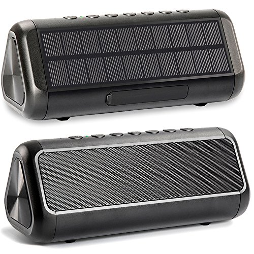 Solar Bluetooth Speaker, Friengood IPX6 Waterproof Portable Wireless Speaker with 50+ Hours Playtime, Bluetooth 4.2 Speaker Built-in 5000mAh Power Bank for Indoor & Outdoor Activities-Black (Best Solar Bluetooth Speaker)