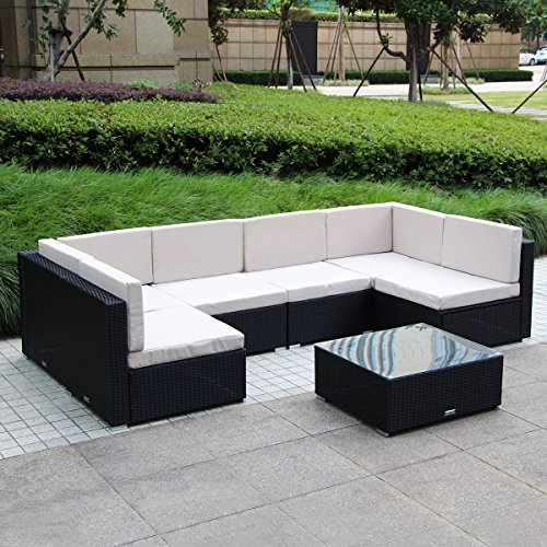 U-MAX 7 Piece 3-7 Pieces Patio PE Rattan Wicker Sofa Sectional Furniture Set (Seven Pieces, Black) -
