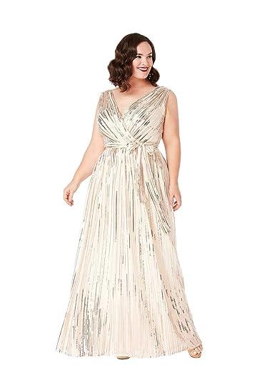 2c76ca5456 Goddiva Plus Size String Sequin Chiffon Dress  Amazon.co.uk  Clothing