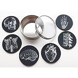 Anatomy Goth Gift Set round Coasters 3.5 inch neoprene clear top tin white on black skull anatomical heart