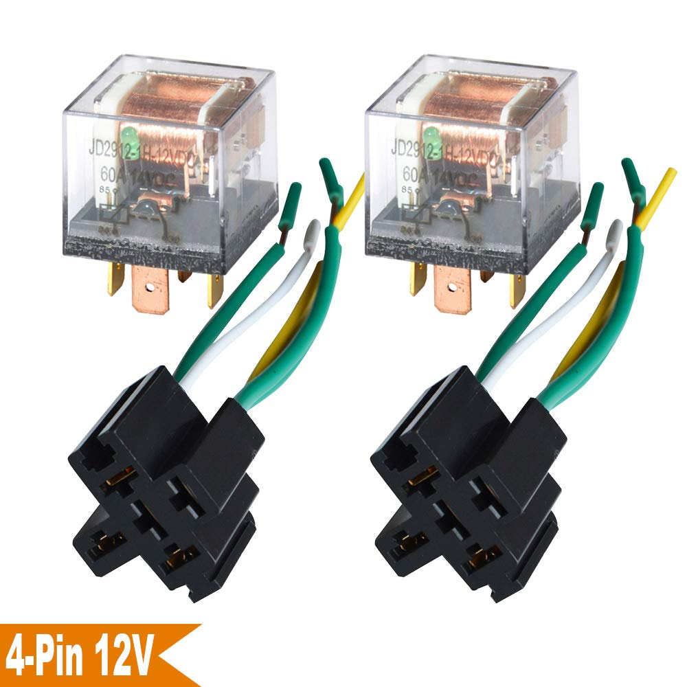 Ehdis 1 Set Car Truck Motor Relay Socket with Connector Heavy Duty 12V 60A SPST Waterproof Seal Transparent Case 4 Pin 4 Wire JD2912
