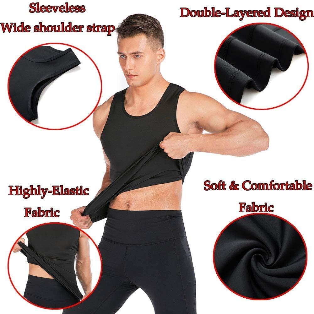 DODOING Men Sauna Vest Sweat Workout Shirt for Weight loss Hot Polymer Waist Trainer Corset Compression Sauna Sweat Body Shaper Zipper Slimming Workout Shirt Sauna Tank Top