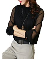 Moore Womens Casual Chiffon Ladies Round Neck Long Sleeve Blouse Tops
