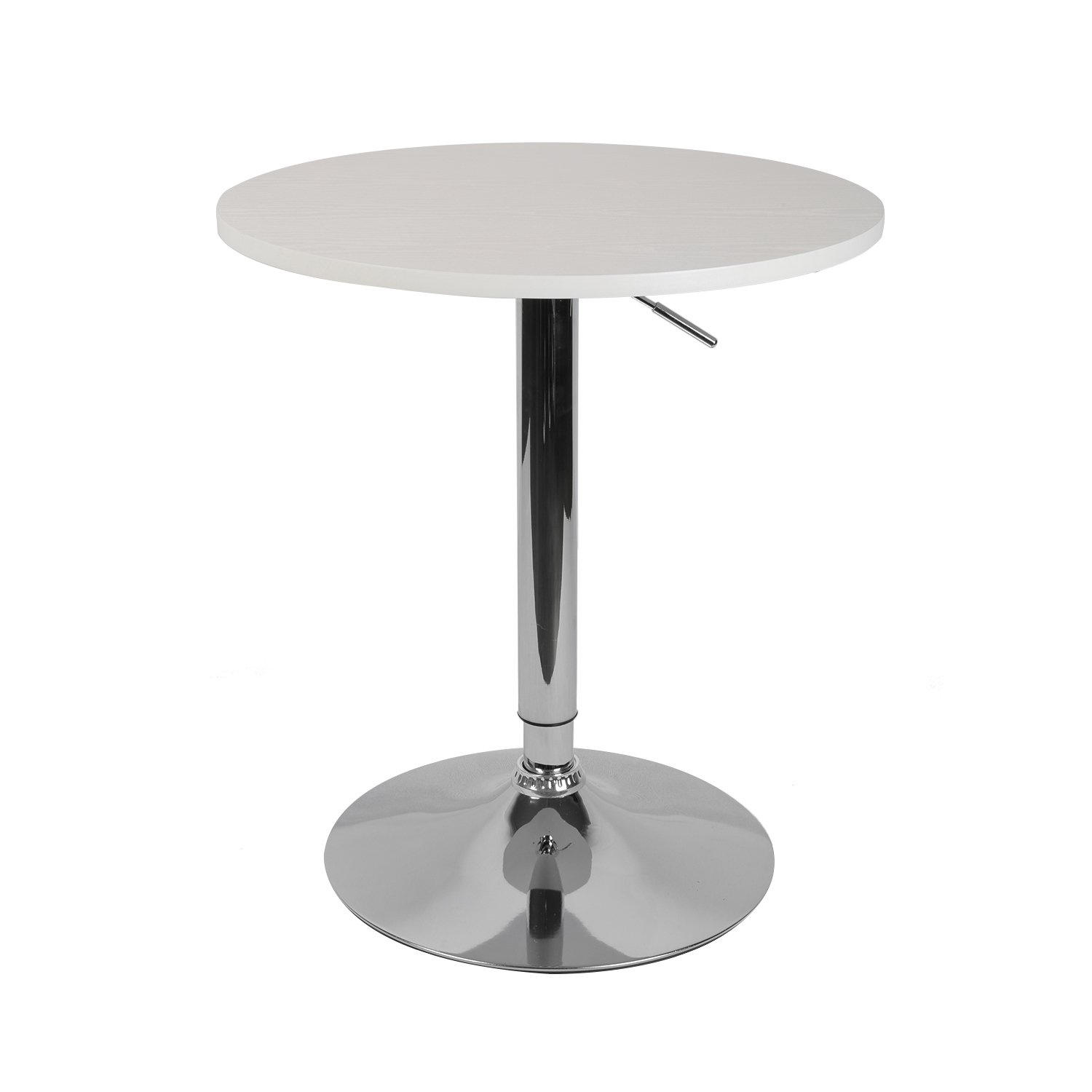 """LCH 23.6"""" Round Dining Bar Table Adjustable 360 Swivel Kitchen Home Bar Furniture MDF Top Bistro Pub Table with Black Base, 29""""-35.8"""" Height, White"""
