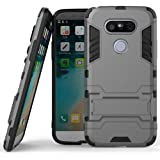 Heartly LG G5 Back Cover Graphic Kickstand Hard Dual Rugged Armor Hybrid Bumper Case - Metal Grey