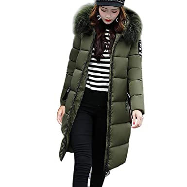 9bced7620ea5 Long Winter Coat, Zulmaliu Thick Warm Down Jacket Slim Hooded Down Padded  Long Parkas Cotton