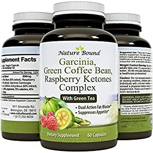 Pure Garcinia Cambogia HCA, Green Coffee Bean and Raspberry Ketones Complex Ketogenic Weight Loss Pills Natural Fat Burner Appetite Suppressant Best Metabolism Booster 60 Capsules by Bio Sense
