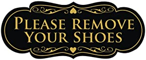 All Quality Designer Please Remove Your Shoes Thank You Sign - Black/Gold Small