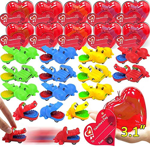 """28 PCS Kids Valentines Toys Cars 28 Crocodile Hippo Pull Back Car Filled Heart Valentines Gift Cards For Kids Classroom Prize Valentine Gift Exchange Carnivals Gift Goodie Bag(3"""" Large Heart)"""