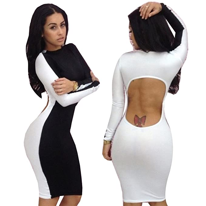 Amazon The Shadow Black White Long Sleeves Clubwear Party