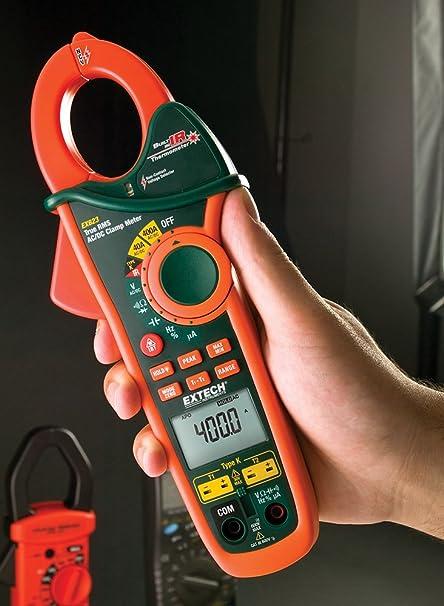 Extech EX623 Medidor de pinza de CA/CC RMS verdadero de 400 A con entrada dual de temperatura tipo K, termómetro infrarrojo y detector de voltaje de CA sin ...